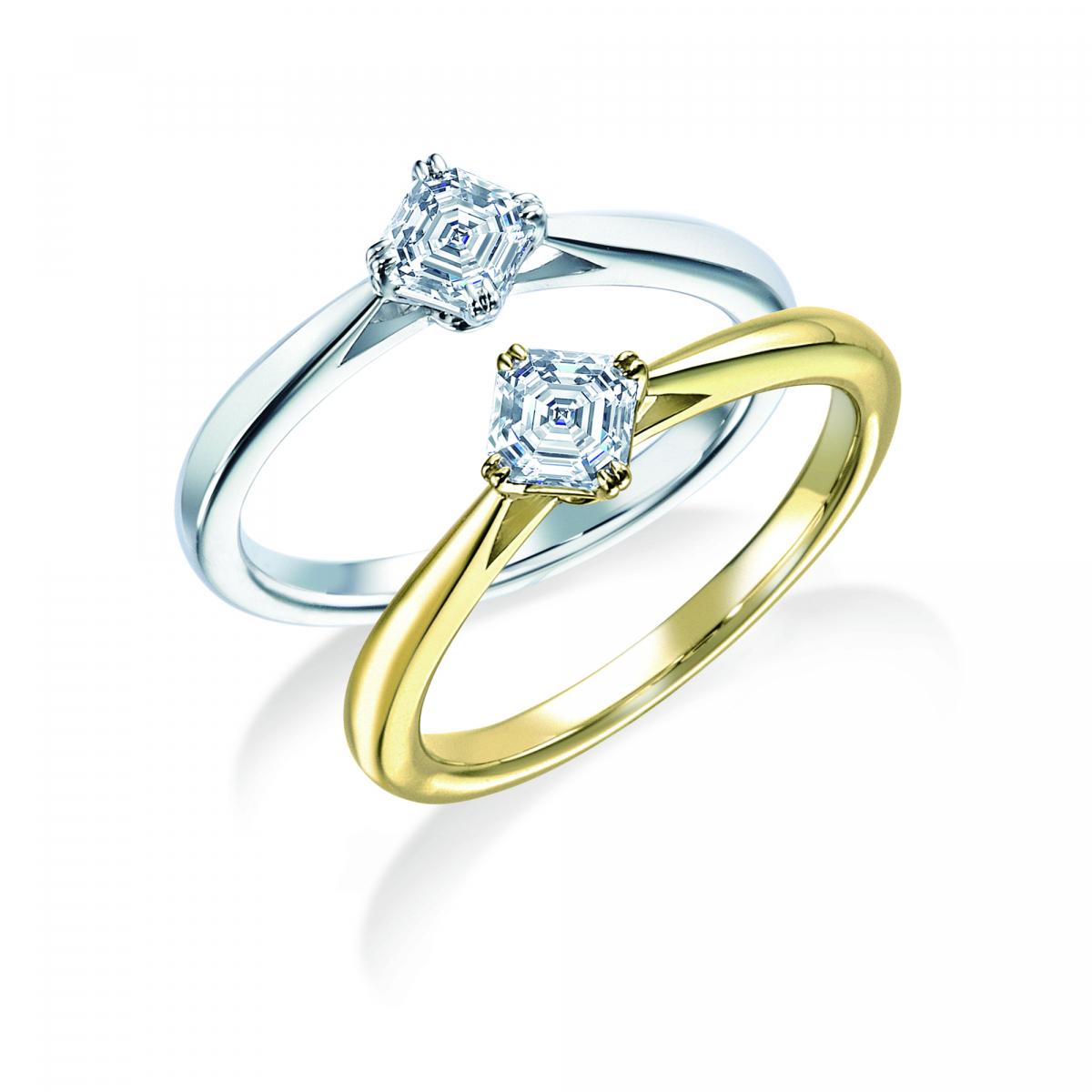 上から:リング(PT,ダイヤモンド0.0ct~)¥000,000~・リング(YG,ダイヤモンド0.0ct~)¥000,000~