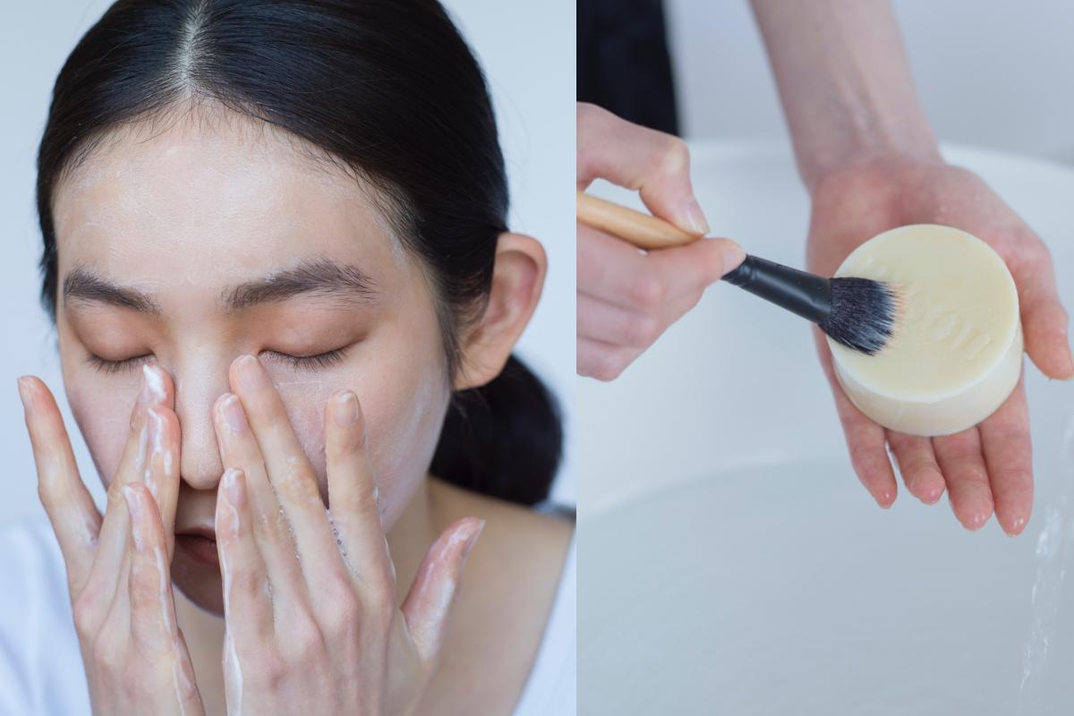 W洗顔不要。メイクブラシは石鹸表面を撫でるようにして洗浄を