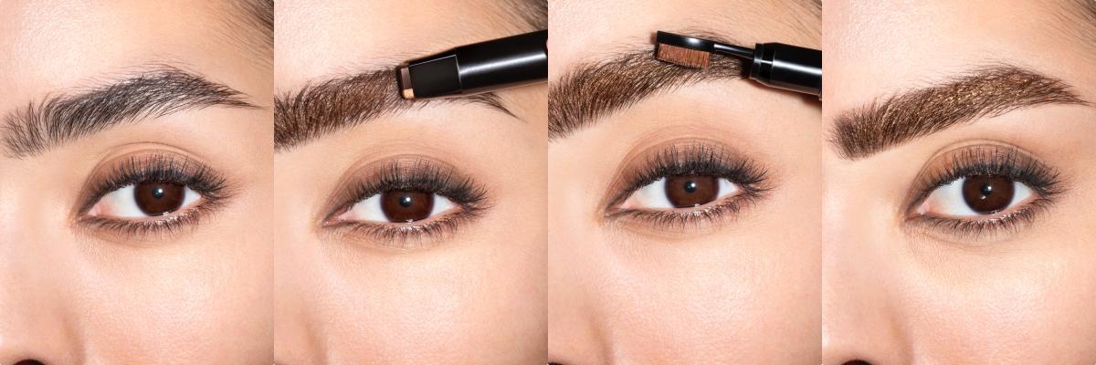 「眉を描く→高密度ブラッシでなじませる」の2ステップで立体眉が完成!