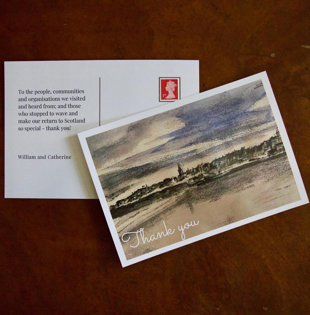 キャサリン妃によるスケッチを用いたお礼カード。