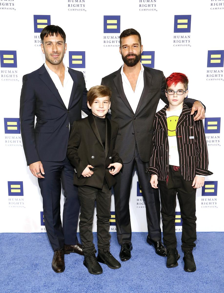 夫ジュワンと双子の息子マッテオ(12)とヴァレンティノ(12)。Photo:Paul Morigi/Getty Images