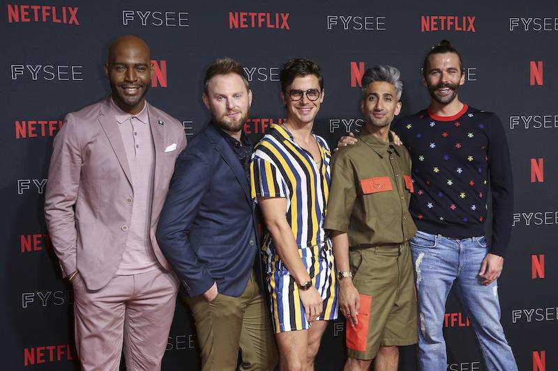 ファブ5のメンバー。(右から)ヘア&ビューティ担当のジョナサン、ファッション担当のカラモ、料理担当のアントニ、インテリア担当のボビー、カルチャー担当のカラモ。©AP/アフロ