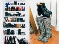 クローゼットの壁面に大好きな靴をずらり