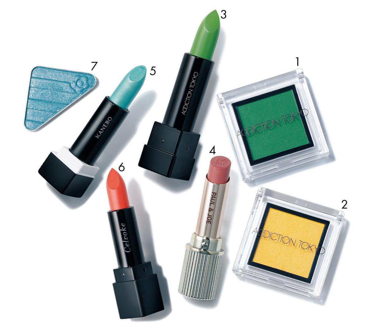 1 「普段使いしやすいシアーな発色も魅力」。ザ アイシャドウ L New Forest・2 同Amaltas Yellow 各¥2,000〈限定品〉・3 「血色リップに重ねると深みが出ます」。カラーコントロール リップバーム Tulsi Green ¥2,800〈限定品〉/ADDICTION BEAUTY 4 「目もとに色を持ってくる場合、唇はヌーディにして抜け感を」。リップスティック N 315 ¥3,000(ケース込み)/PAUL & JOE BEAUTE 5 「サイバーなブルーメタリックパールが新鮮。派手な色に重ねて」。カネボウ Nールージュ 113 ¥4,000〈2月7日発売〉/カネボウインターナショナルDiv. 6 「肌になじむオレンジはカラフルなアイメイクとも相性抜群」。ディグニファイド リップス 33 ¥3,200/セルヴォーク 7 「まぶたにのせ、赤のアイライナーでコントラストをつけたい」。アイオープナー S003 ¥1,200〈2月1日限定発売〉/マリークヮント コスメチックス