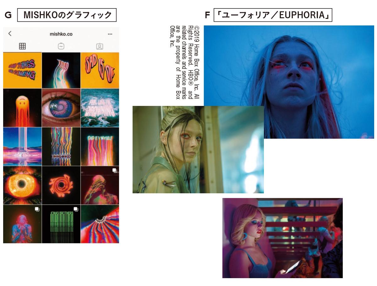G 独特なデジタルアートを生み出すMISHKO。RIEさんもインスタグラム (@mishko.co)をフォロー中  F 全米でヒット中のドラマ「ユーフォリア」。ドラッグ依存症の17歳を主人公にリアルな現代社会を描く Amazon Prime Videoチャンネル 「スターチャンネルEX -DRAMA & CLASSICS-」にて配信中