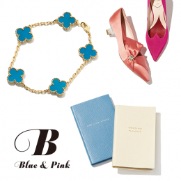 花嫁のためのブルー&ピンク
