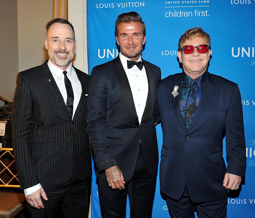 (右から)エルトン・ジョン、デヴィッド・ベッカム、デヴィッド・ファーニッシュ Photo : Getty Images