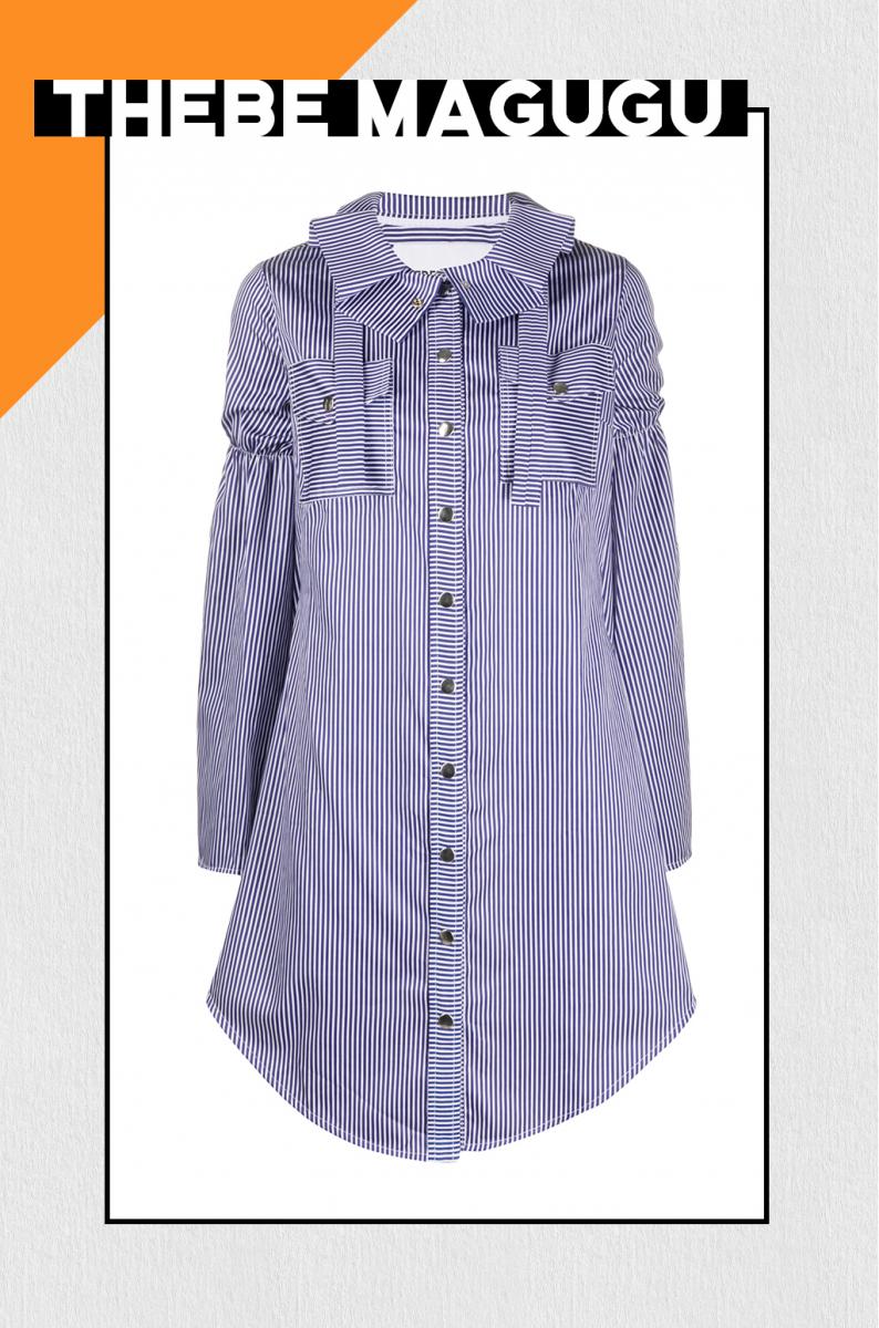 ディテールが光るストライプシャツドレス【テベ・マググ】