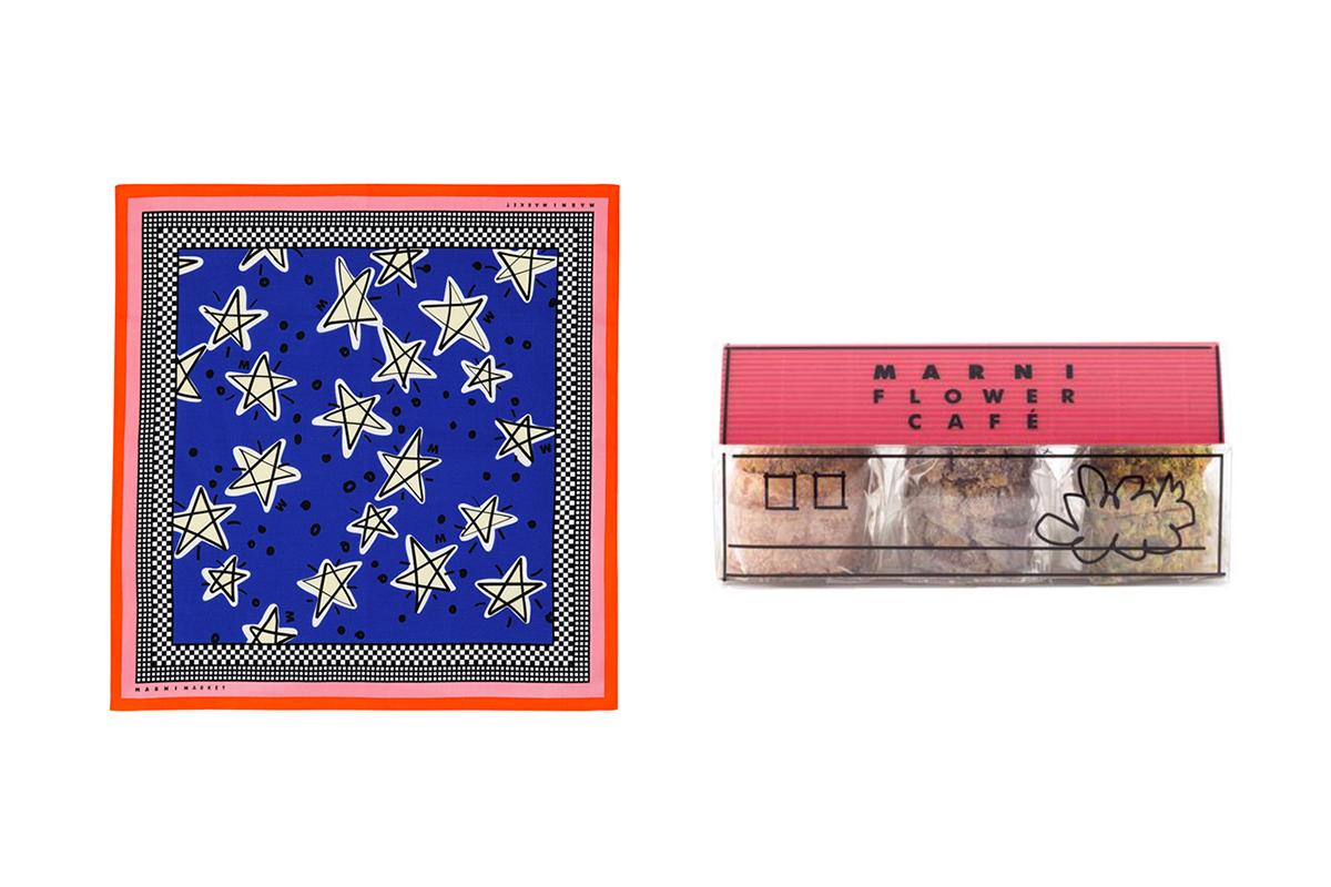 バンダナ (W53 x H53 cm)¥3,700、ビスケットハウス¥2,000/マルニ
