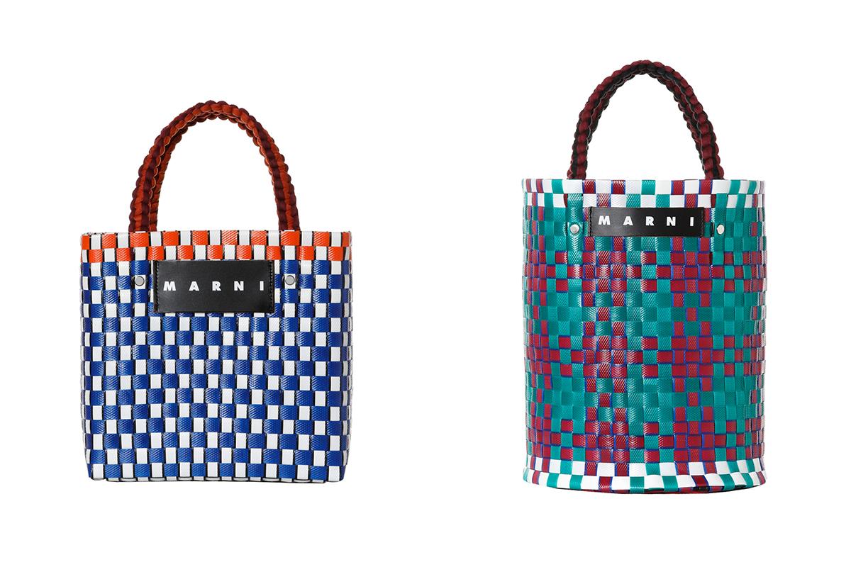 (左から)ピクニックバッグ・ミニ(W22 x H22 x D14 cm)¥16,000/マルニ