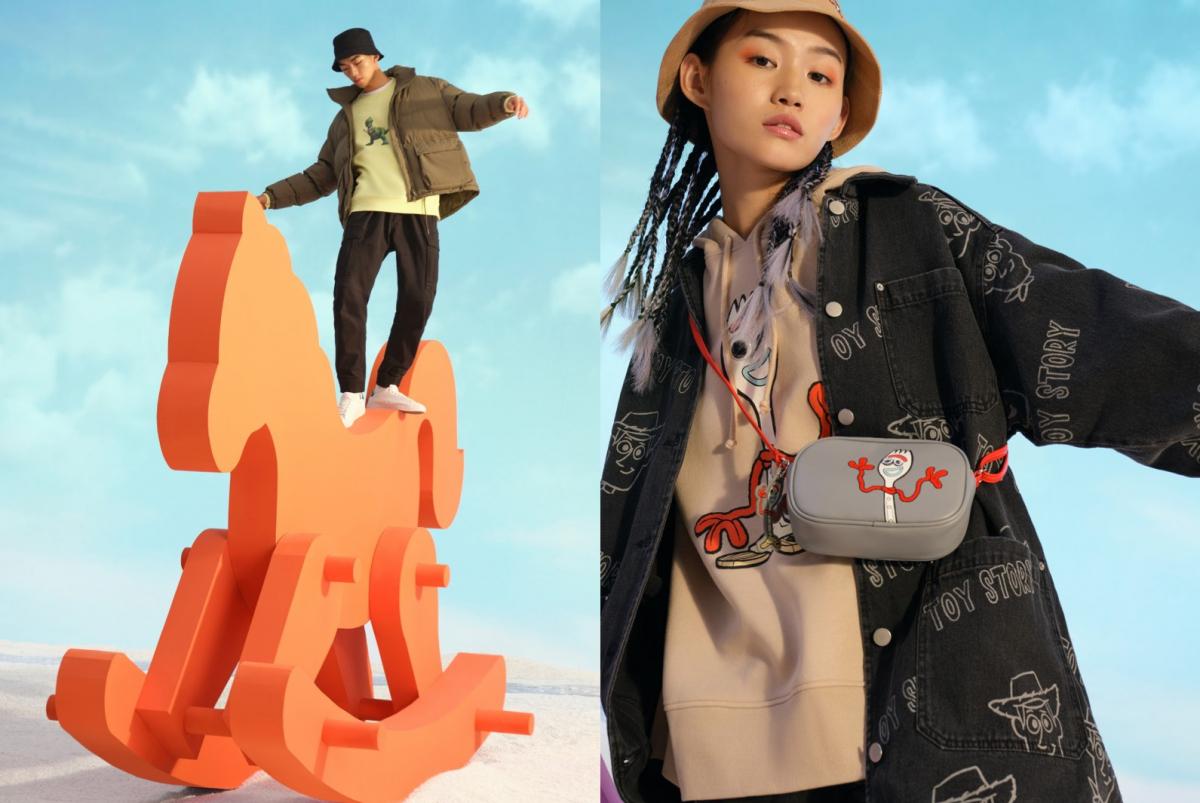 (左)スウェットシャツ ¥2,999(右)スウェットパーカ ¥2,999、オーバーサイズデニムジャケット ¥5,999、バケットハット ¥1,799、ミニショルダーバッグ ¥1,999 (C)DisneyPIXAR/H&M カスタマーサービス