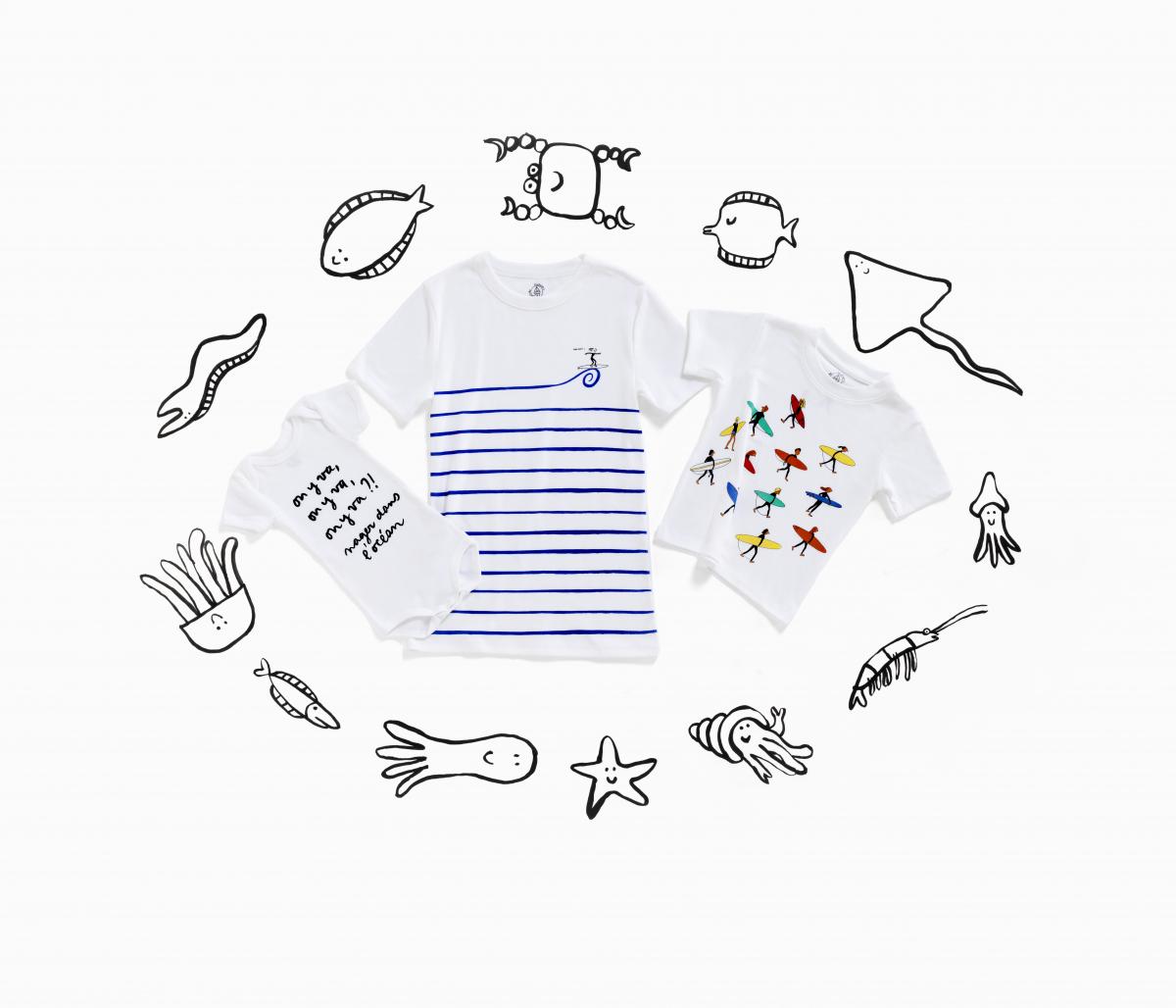 (左から)半袖ボディ3枚組(ベビー)¥4,950、Tシャツ(大人)¥6,050、Tシャツ(キッズ)¥4,400〜¥4,950/プチバトー・カスタマーセンター