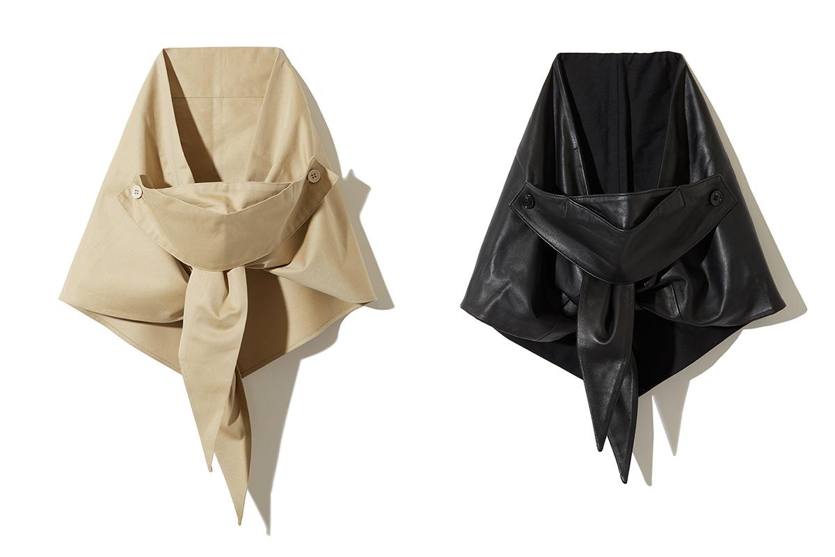 (左から)マルチウェイ スカーフ カバー ブラック ¥18,000/ラインヴァンド マルチウェイ スカーフ カバー ベージュ ¥12,000/ラインヴァンド