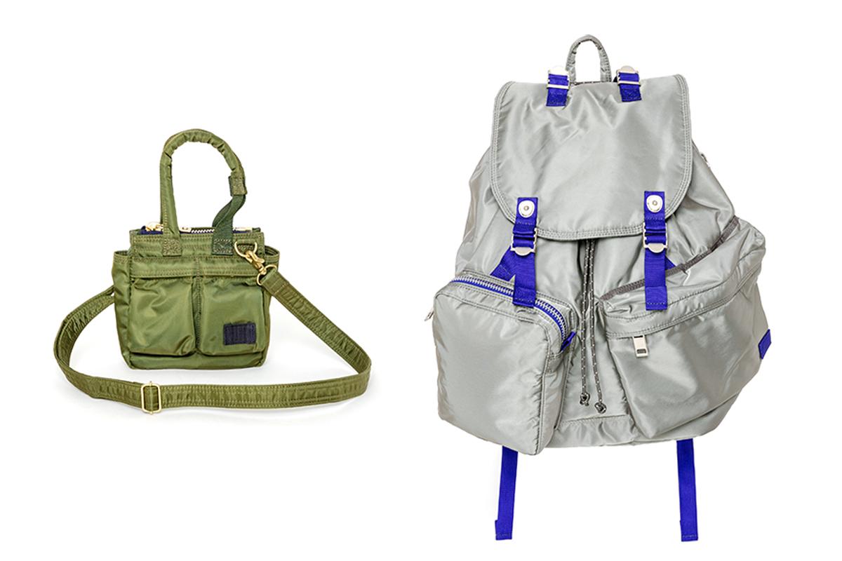 (左より)トートバッグ スモール ¥39,000、バッグパック ¥72,00/sacai(サカイ × ポーター)