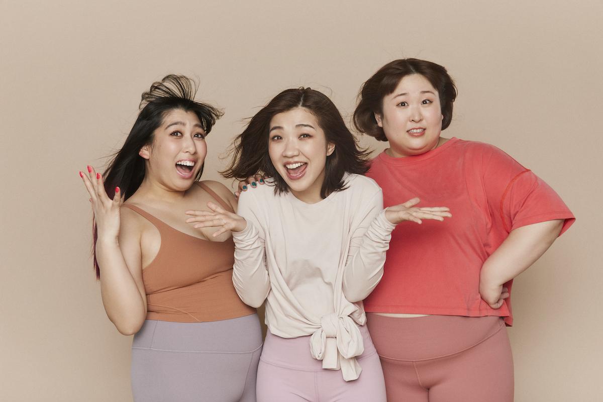 """lululemon""""Celebrate You!""""のキャンペーンでイメージキャラクターを務めたお笑いトリオ、3時のヒロイン。左からゆめっち、福田真貴、かなで"""