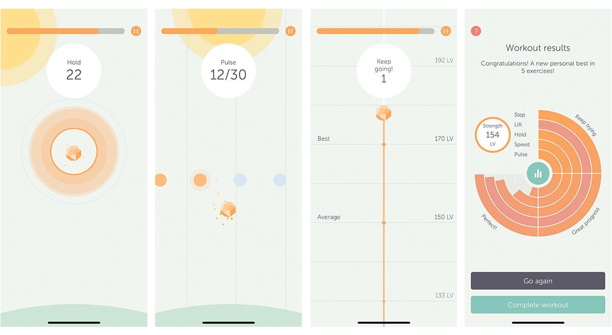 ポップな色合いで楽しくトレーニングできるアプリ画面。