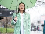 個性的な緑×白チェック柄ジャケット