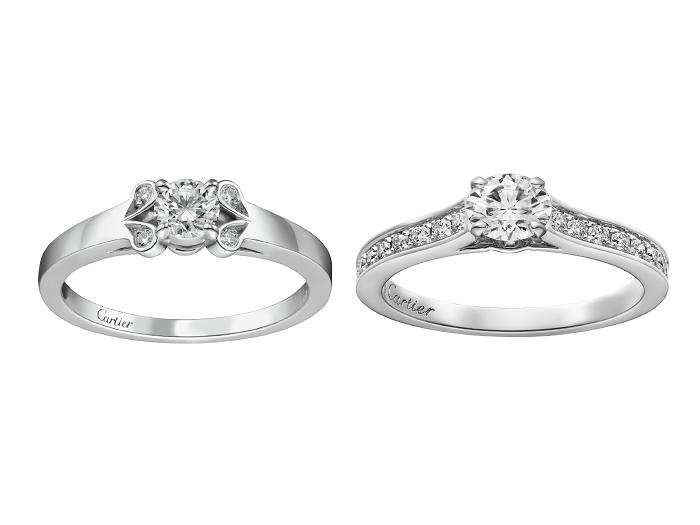 (左)「バレリーナ」エンゲージメントリング〈Pt、ダイヤモンド0.23ct~〉¥¥459,400~(Vincent Wulveryck© Cartier)、(右)「ソリテール1895」エンゲージメントリング〈Pt、ダイヤモンド0.3ct~〉¥569,800~(Eugenie Baschet© Cartier)