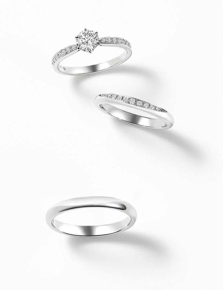 「チューリップ」(上)エンゲージメントリング〈Pt、ダイヤモンド0.17ct~〉¥256,000~、(中)マリッジリング〈Pt、ダイヤモンド〉¥130,000、(下)マリッジリング〈Pt〉¥100,000