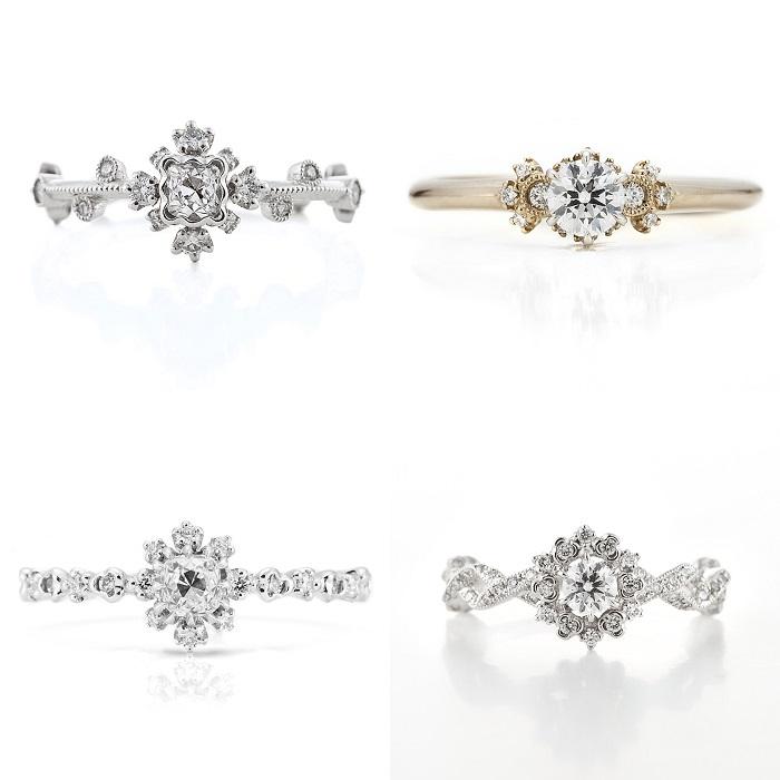 """ブランドを代表するリングデザイン。<左上から時計回り>リング(Pt×センターダイヤモンド#.#ct)¥340,000、""""MINORI""""リング(シャンパンゴールド✕Pt×センターダイヤモンド#.#ct)¥355,000、リング(Pt×センターダイヤモンド#.#ct)¥300,000、リング(Pt×センターダイヤモンド#.#ct)¥375,000"""