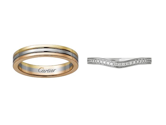 (左)「トリニティ」マリッジリング〈YG、PG、WG〉¥142,000(AmélieGarreau© Cartier)、(右)「バレリーナ」マリッジリング〈Pt、ダイヤモンド〉¥294,000(Vincent Wulveryck© Cartier)