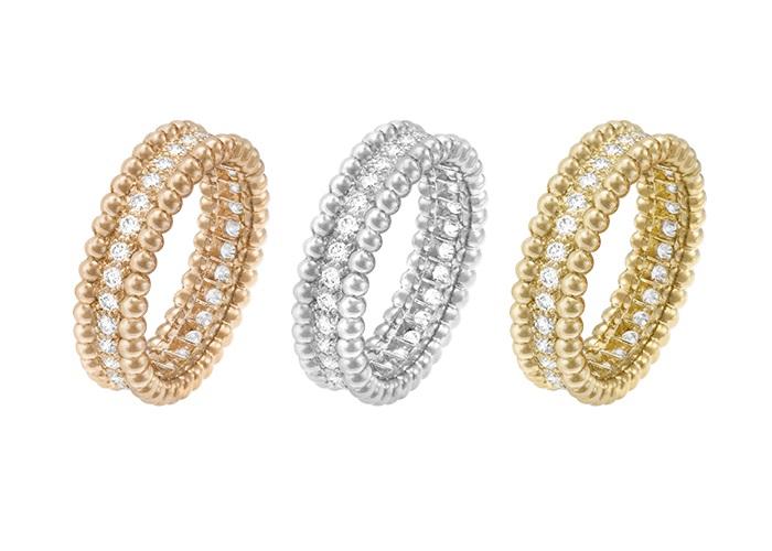 「ペルレ」ダイヤモンドリング(左)〈RG、ダイヤモンド〉¥###,###、(中)〈WG、ダイヤモンド〉¥###,###、(右)〈YG、ダイヤモンド〉¥###,###