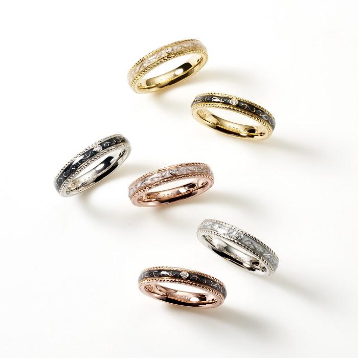 「LOVE BULLET」リング(上から)〈YG、エポキシ(ホワイト)、ダイヤモンド〉¥170,000~、〈YG、エポキシ(ブラック)、ダイヤモンド〉¥170,000~、〈Pt、エポキシ(ブラック)、ダイヤモンド〉¥195,000~、〈PG、エポキシ(ホワイト)、ダイヤモンド〉¥170,000~、〈Pt、エポキシ(ホワイト)、ダイヤモンド〉¥195,000~、〈PG、エポキシ(ブラック)、ダイヤモンド〉¥170,000~