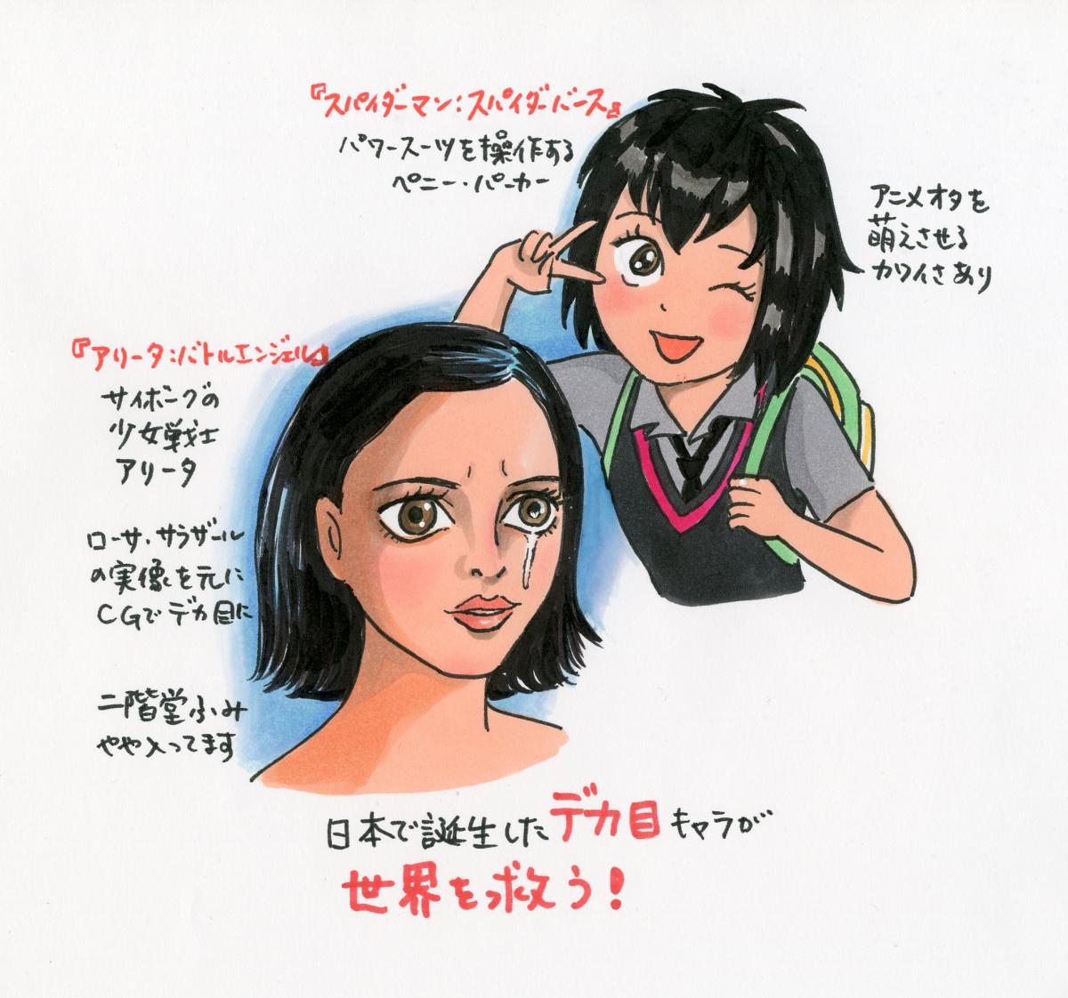日本生まれのデカ目キャラが活躍する映画『スパイダーマン:スパイダーバース』と『アリータ:バトル・エンジェル』を続けて観て、マンガやアニメーションにおける