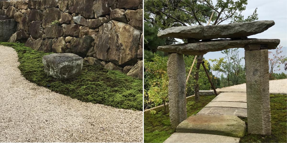 施設内には、杉本さんが生涯をかけて蒐集した古美術を惜しみなく展示。左は開館の直前に購入、設置したという法隆寺若草伽藍の礎石。右は茶室「雨聴天」の前に設置された石造鳥居