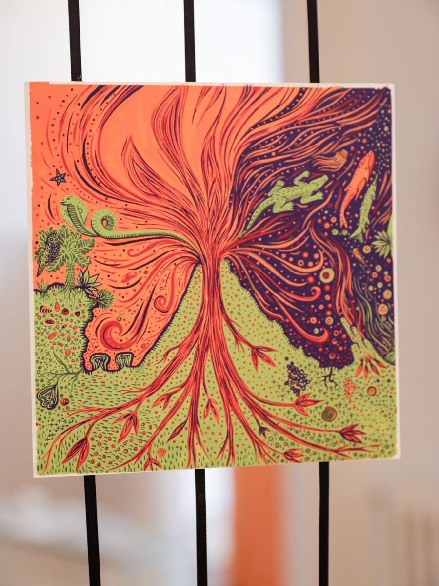 アーティストのソフィア・ワレスによる、「テンポ」のイメージイラスト。いくつもの作品を描いた後に、実際のエチケットの絵が生まれたという