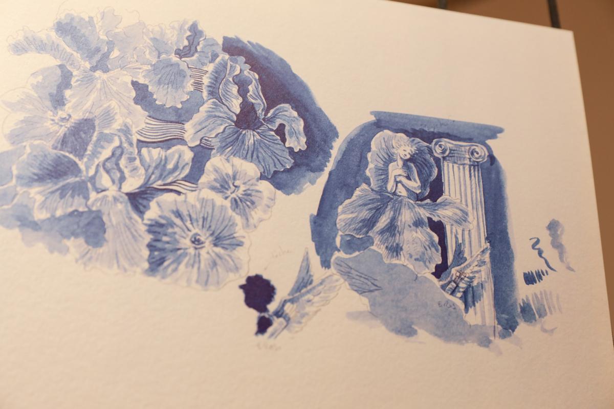 「フルール ドゥ ポー」のエチケットを描いたのは、ディミトリ・リバルチェンコ。水彩画のような優しいタッチ