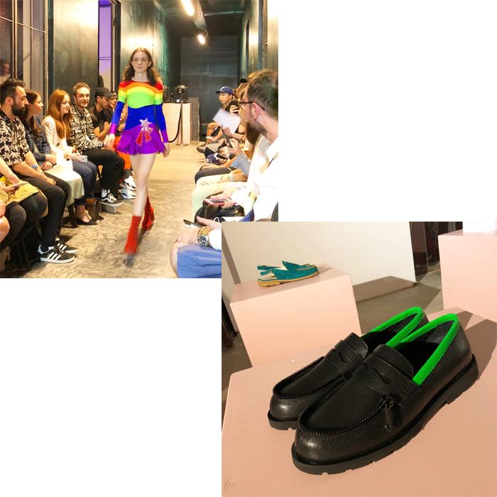 (左上)ショップで開催された「Gola Damian」のショー。(右下)「Le Mocassine ZIppe」のプレゼンテーション