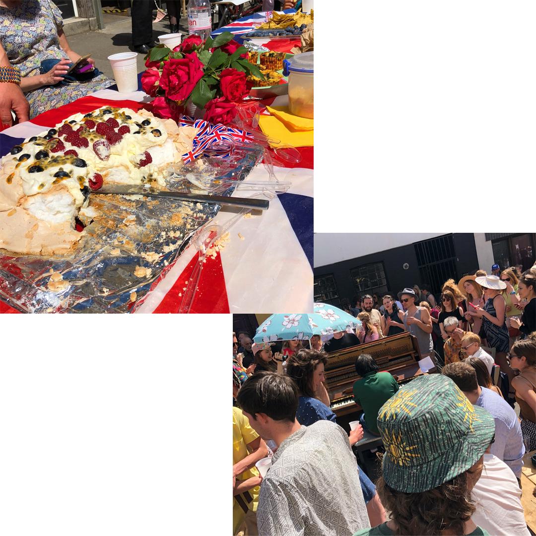 (左)特大ケーキも!(右)ピアノのショーもゲリラ的に開催