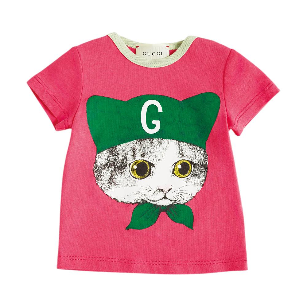 ヒグチユウコ作品にはおなじみのキャラクター、愛猫ボリスのプリント。Tシャツ(ベビー)¥15,000